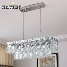 rectangular crystal chandelier modern rectangular crystal chandelier lighting for dining room restaurant hanging crystal pendant lamp length rectangular