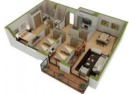 12 denah rumah 3 kamar minimalis 3d 2017
