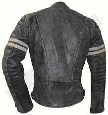 stone wash fight club motorcycle leather jacket with white stripes charlie london leather jackets for men and women free uk delivery