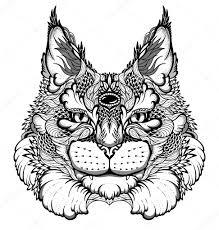 кошка тату кошка рысь голова тату векторное изображение