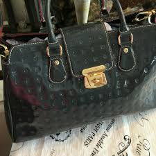 details about arcadia purse patent leather grey large satchel made in italy