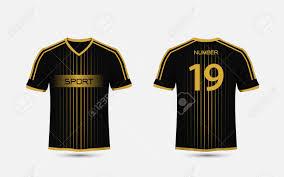 Football Shirt Designs Black And Gold Pattern Sport Football Kits Jersey T Shirt Design