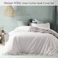 details about maison white ruffled quilt cover set single double queen king super king