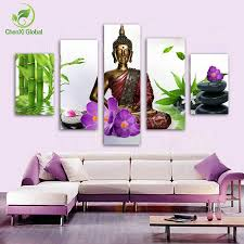 Oil Painting For Living Room Best 2016 5 Panel Modern Abstract Buddha Oil Painting Buda Picture