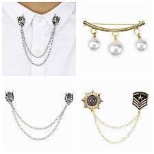 3 Women Cardigan Sweater Shawl Clips Shirt Collar Badge Pearl Wolf Head  Brooch | eBay