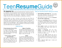 Teenage Resume Examples Teen Resume Examples Letter Format Template 20