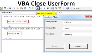 Vba Close Userform Top 2 Methods To Close Userform With