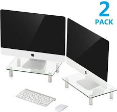 fitueyes glass dual computer monitor riser desktop stand for xbox one pc imac flat screen tv 2 pack dt103803gc