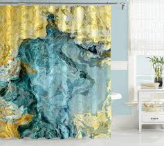 yellow and blue shower curtain. abstract shower curtain, aqua blue and yellow art beach curtain