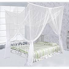 Just Relax Four Corner Post Elegant Mosquito Net Bed Canopy Set, White,  Full/