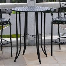Image Stornäs Cymax Iron Antique Black Barheight Patio Bar Table 3467tep
