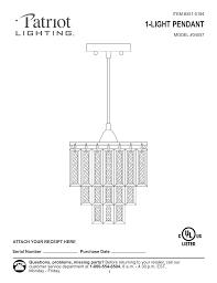 Patriot Lighting Troubleshooting 1 Light Pendant Manualzz Com