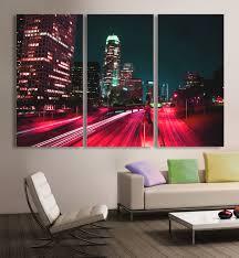 downtown la los angeles city skyline canvas print 3 panel