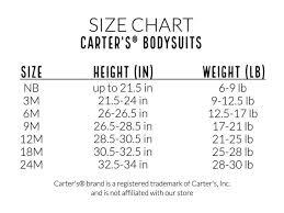 Carters Onesie Size Chart Tangerine Bodysuit Hand Embroidered