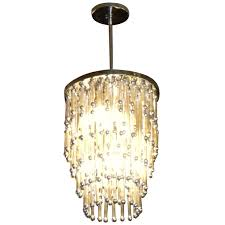 unusual art deco modern chandelier with silver