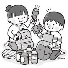 避難袋に荷物をつめるこどもモノクロ 子供と動物のイラスト屋さん