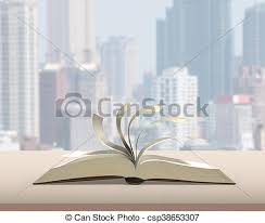 flipping pages of open book on wood table with city building view background 3d rendering