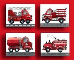 fire truck wall decor wooden