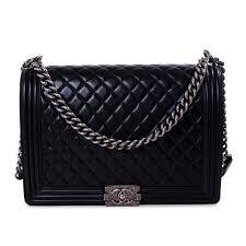Chanel Designer Bags Chanel Large Black Quilted Leather Large Boy Bag Pre Owned