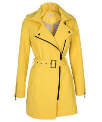 asymmetrical zipper trench coat yellow hi res