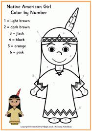 Small Picture Pilgrim Girl Colour by Number Thanksgiving Colouring Pages for Kids