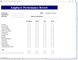 Annual Review Forms For Employees Printable Employee Performance Review Forms