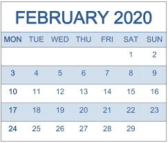 February 2020 Calendar Template Printable February 2020 Calendar Template On We Heart It