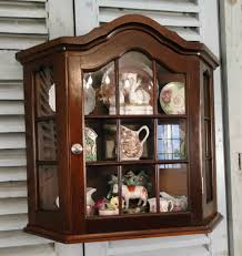 antique french country wall display curio cabinet divided glass mahogany