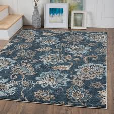 charlton home rus navy blue brown area rug reviews wayfair pertaining to fresh