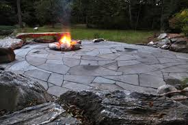 patio with fire pit. Indian Run Landscaping Natural Flagstone Patio With Fire Pit | E