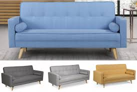 Boston 3 Seater Fabric Sofa Bed- Light Grey, Charcoal, Blue or Yellow