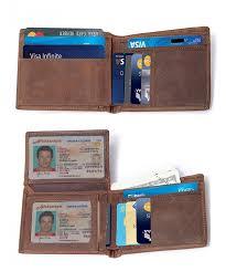Tri Fold Window Mens Vintage Genuine Leather Rfid Blocking Bifold Trifold Wallet With Id Window Brown 2 Id Window Cj18ek8k0u2