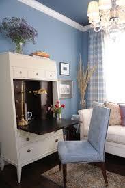 traditional hidden home office desk. blue walls white secretary desk and sofa plaid curtainspresidio heights traditional home office san francisco by brian dittmar design hidden