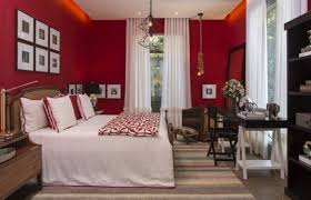 Bedroom With White Curtains And Red Walls