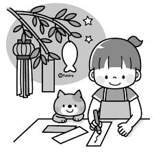 七夕の短冊を書く女の子と猫のイラストモノクロ 子供と動物の