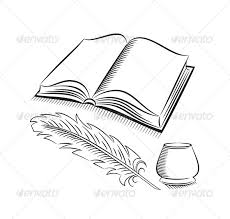 quill and inkwell with book objects vectors