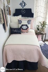 We are swooning over this boho vibe teen bedding. Our best selling blush  pink quilt pairs with solid navy, ivory linen and furs, and a pink navy  boho accent ...