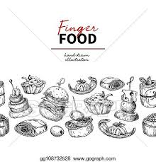 Catering Clipart Vector Illustration Finger Food Vector Drawing Catering