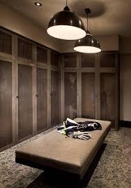 rustic cabin mudroom with mesh locker cabinet doors