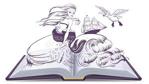 open book tale of mermaid reading develops imagination stock vector ilration of nymph