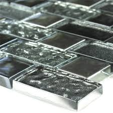 mosaic tiles glass effect black silver