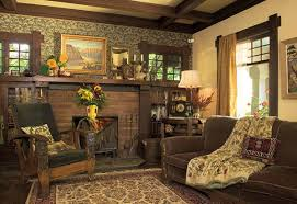 The brick-tile fireplace, integrated bookcases, honest trim, and ceiling