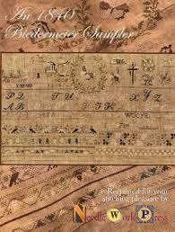 Belle Soie Conversion Chart 1840 Biedermeier Sampler Cross Stitch Chart