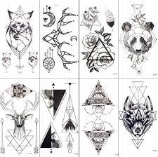 черный геометрический принт кошка временная татуировка луны оленей