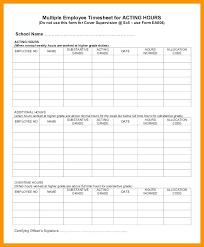 Printable Employee Multiple Job Template Weekly Timesheet