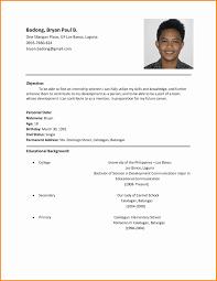 resume simple example applicant resume sample filipino simple gentileforda com