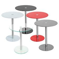 podium round glass side table