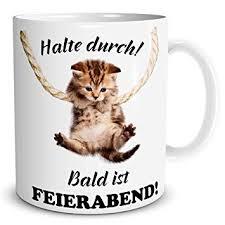 Triosk Tasse Katze Lustig Mit Halte Durch Spruch Katzenmotiv