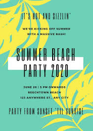 Beach Flyer Yellow Green Tropical Leaves Modern Beach Party Flyer Templates By