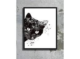 cat watercolor art print black cat painting cat poster decor watercolor woman cat print wall